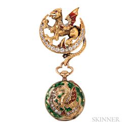 Antique 18kt Gold, Enamel, and Diamond Dragon Watch