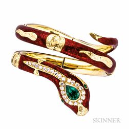 18kt Gold, Enamel, Emerald, and Diamond Snake Bangle, Ugo Piccini