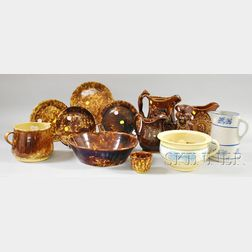 Twelve Pieces of Rockingham Stoneware and Glazed Yellowware