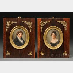 Joseph Dubasty (French, fl. 1810-1837),       Pair of Portrait Miniatures of the Baron and Baroness Lapeyre