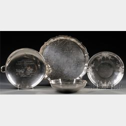 Four Pieces of American Engraved Presentation Sterling