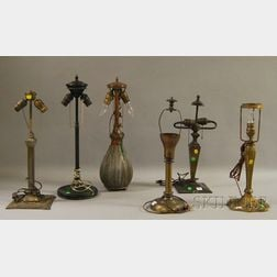 Six Assorted Patinated Metal Table Lamp Bases