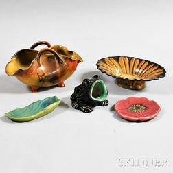 Five Art Pottery Items Including Rookwood and Fulper
