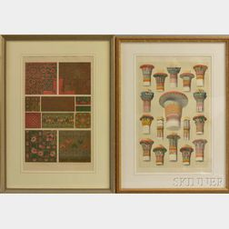 Three Framed Hand-colored Engravings from Grammar of Ornament