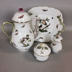 """Four Pieces of Herend """"Rothschild Bird"""" Porcelain Tableware"""