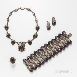 Sterling Silver and Amethyst Bracelet, Figural Necklace, Ring, and Two Pendants