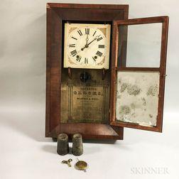 Boardman & Wells Mahogany Veneer Mirrored Shelf Clock