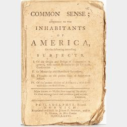 Paine, Thomas (1737-1809) Common Sense; Addressed to the Inhabitants of America.