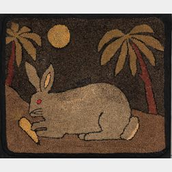 Rabbit Hooked Rug