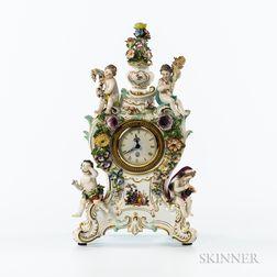 Meissen Porcelain Figural Clock