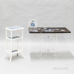 Wood Table with Decoupage on a Lucite Base, a Lucite Tray, and a White Bamboo Side Table