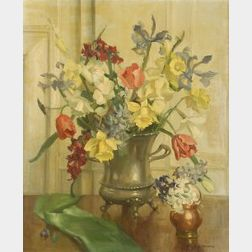Marguerite Stuber Pearson (American, 1898-1978)  Floral Still Life with Iris, Tulips and Daffodils