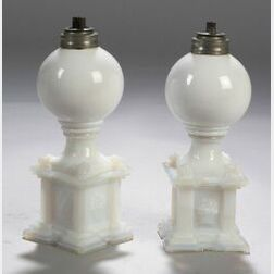 Pair of Opalescent White Free-blown and Pressed Glass Whale Oil Lamps