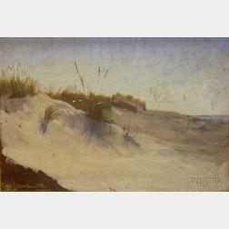 Framed Oil on Canvas Landscape of the Dunes at Hornback by Viggo Johansen   (Danish, 1851-1935)