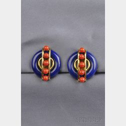 18kt Gold, Lapis Lazuli and Coral Earclips, Aldo Cipullo, Cartier