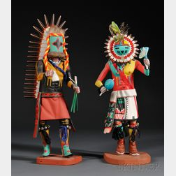 Two Polychrome Carved Wood Kachinas by Henry Shelton
