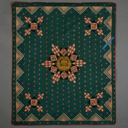 Pieced Silk Brocade and Embroidered Velvet Geometric Star Quilt