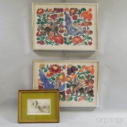 Two Asian Woodblock Prints and an Etching of Dionysus