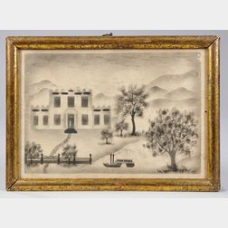 Three Framed Watercolor en Grisaille Folk Art Scenes