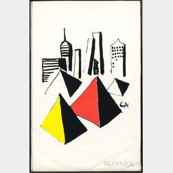Alexander Calder (American, 1898-1976)      Untitled (City and Pyramids)