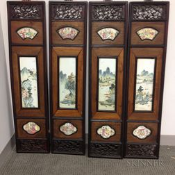 Four Hanging Panels with Ceramic Inserts