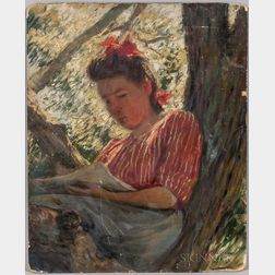 Joseph Henry Hatfield (American, 1863-1928)      Girl Reading in a Tree
