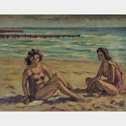 Margaret Miller Cooper (American, 1874-1965)      Two Girls on Beach, Miami