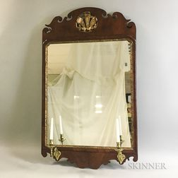 Chippendale-style Mirror with Brass Candle Arms