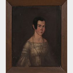 American School, Mid-19th Century      Portrait of a Young Woman