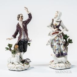 Meissen Porcelain Figures of a Shepherd and Shepherdess