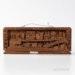 Charles Butler Carved Mahogany Cityscape Diorama