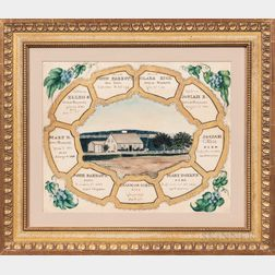 "Watercolor and Gilt ""Parrott-Rice"" Family Record"