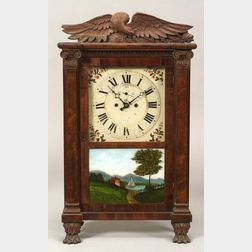 Classical Mahogany Carved and Mahogany Veneer Shelf Clock