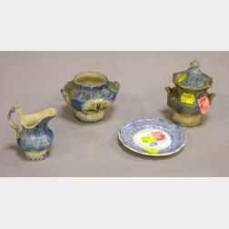 Miniature Blue and White Spatterware Pitcher, Two Sugars, and a Staffordshire Saucer.