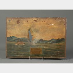 Landscape Painted Iron Panel from U.S.S. Brooklyn's Smokestack