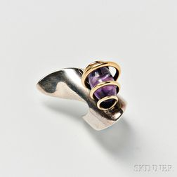 Art Smith Sterling Silver, 14kt Gold, and Amethyst Ring