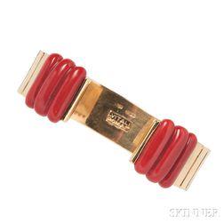 18kt Gold and Coral Cuff Bracelet, Vitali