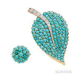 Turquoise and Diamond Brooch
