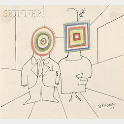 Saul Steinberg  (American, 1914-1999)      Art Lovers