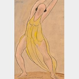 Abraham Walkowitz (American, 1878-1965)      Portrait of a Dancer, Probably Isadora Duncan