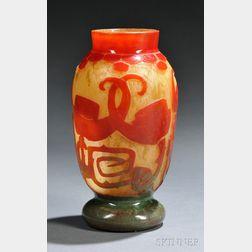 Le Verre Francais Spirale Cameo Glass Vase