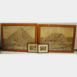 Pair of Oak Framed Large Format Photo Prints of Greece and Egypt and Two Framed   Photographs of Japanese Shrines
