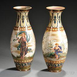 Pair of Doulton Burslem Hand-painted Vases