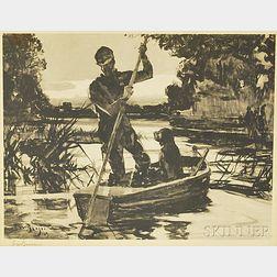 Frank Weston Benson (American, 1862-1951)      Hunter Poling Boat (Boat with Dog)