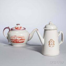 Staffordshire Transfer-printed Teapot, and Chinese Export Porcelain Armorial Coffeepot