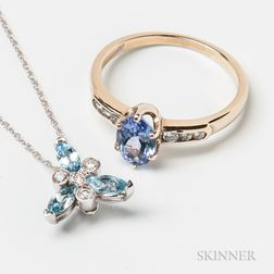 18kt Gold, Tanzanite, and Diamond Ring and 14kt White Gold, Aquamarine, and Diamond Pendant