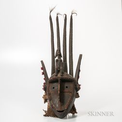 Bamana-style Carved Wood and Cloth Mask