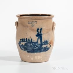 Two-gallon Cobalt Deer-decorated Stoneware Jar