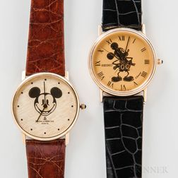 Two 14kt Gold Mickey Mouse Wristwatches
