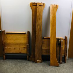 Pair of Shaker-style Maple Twin Beds